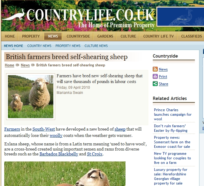 Countrylife Exlana Article 09April2010