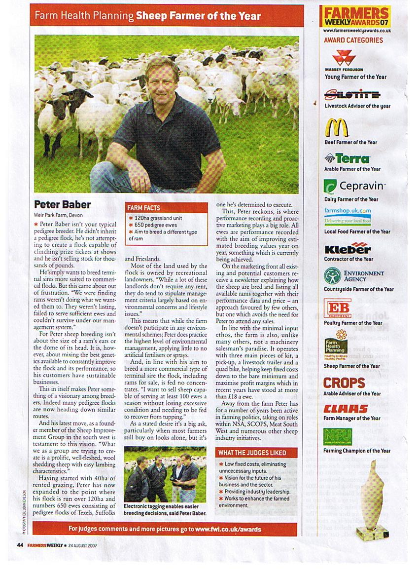 Farmers Weekly Sheep Farmer of the Year 2007